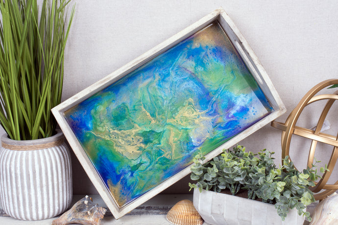 resin serving tray blue  green and gold