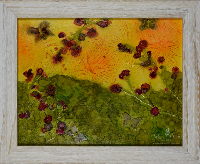 Alcohol ink painting of bright sunny hillside of flowers and butterflies