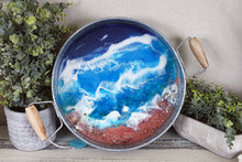 round metal blue ocean tray