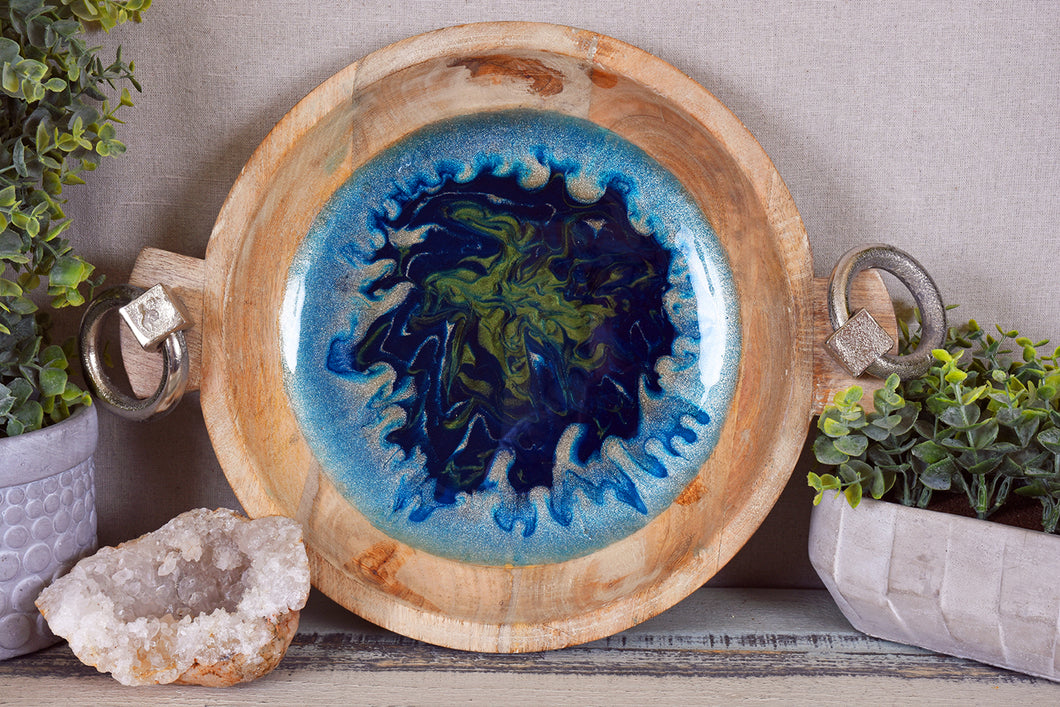 wood serving bowl with blue green glitter pigment