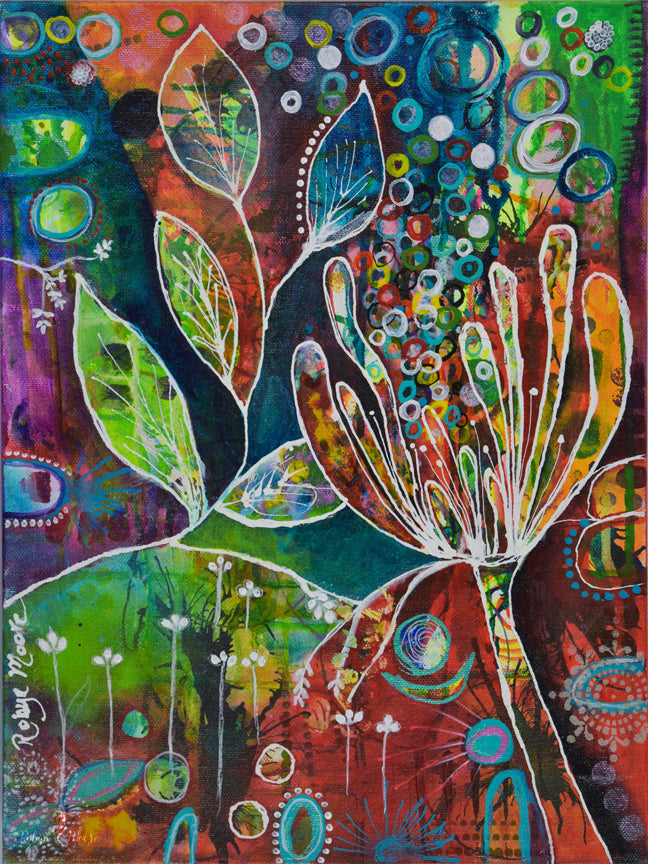 multiple layers of vibrant acrylic ink in many colors with flower and leaves designs