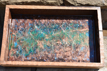 wood serving tray with copper green blue and fire glass