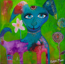 big eyed colorful puppy dog on vibrant background with flowers