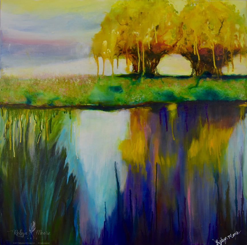 acrylic and ink painting of autumn trees and reflection on the shore of lake with sky