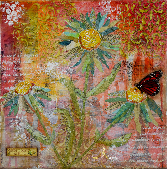 mixed media textured painting of a sunny spring garden of daisies butterfly on a flower.