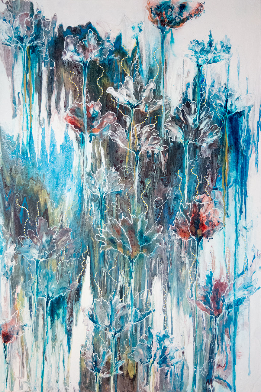 flowers layered on top of blue watercolor background