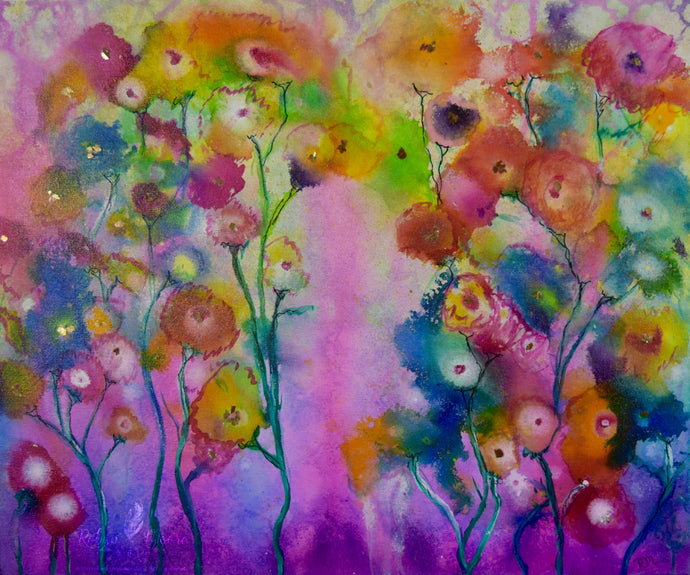 vibrant water color ink painting of wildflowers in a rainbow of colors soft background
