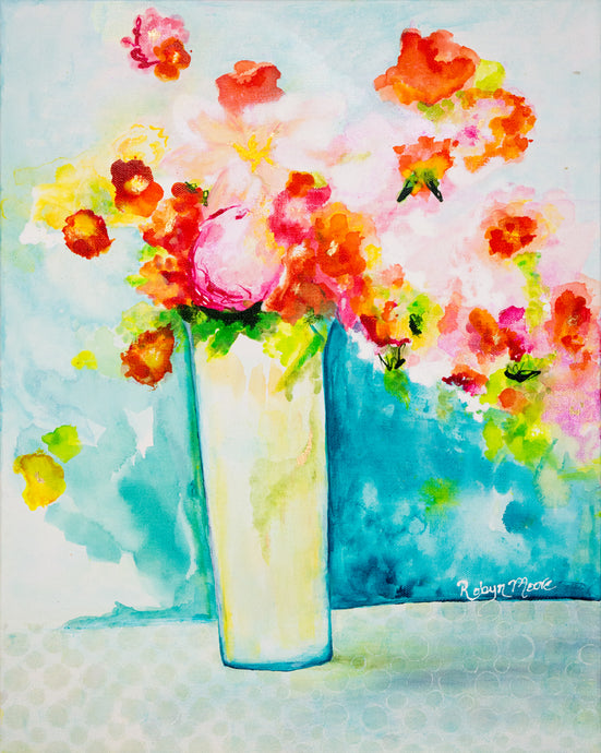 vase of colorful flowers sitting on a table hand drawn ink details