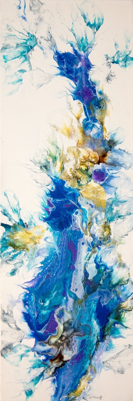 abstract acrylic fluid painting with texture and vibrant blue colors