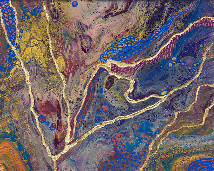 abstract fluid acrylic painting with texture and vibrant blue gold magenta colors