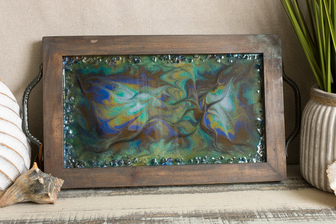 blue and copper serving tray