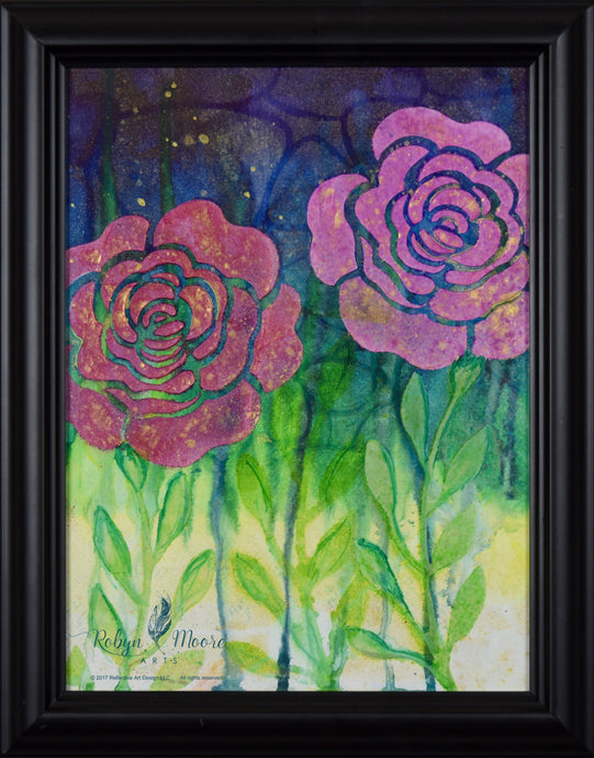 watercolor ink painting of textured roses on vibrant background with flower imprint