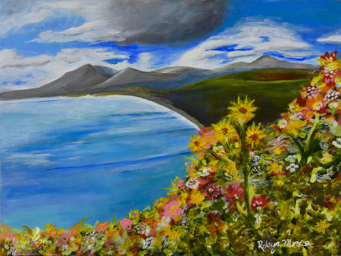 lake view acrylic painting wildflowers clouds and mountains