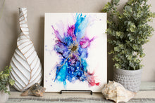 abstract alcohol ink splashy painting with texture and vibrant colors