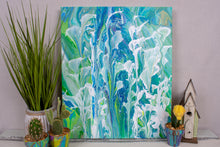 abstract fluid acrylic painting vibrant blue teal green colors with white flowers