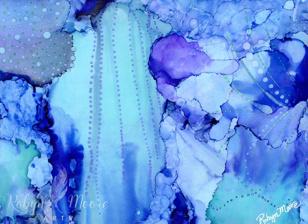 alcohol ink deep under sea cavern turquoise blue waters with bubbles