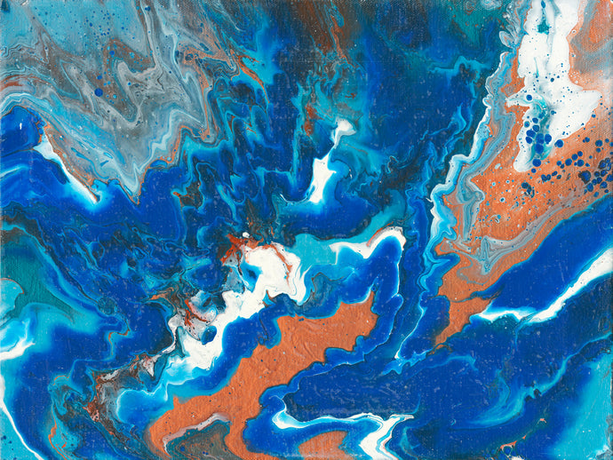 abstract fluid acrylic painting with vibrant blue copper colors
