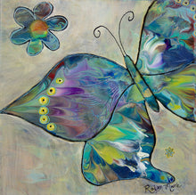 vibrant abstract background with butterflies and flower painting