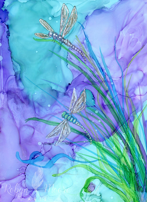 abstract alcohol ink dragonflies on pond wispy grass