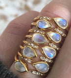 Rainbow Moonstone and Topaz Siren Ring