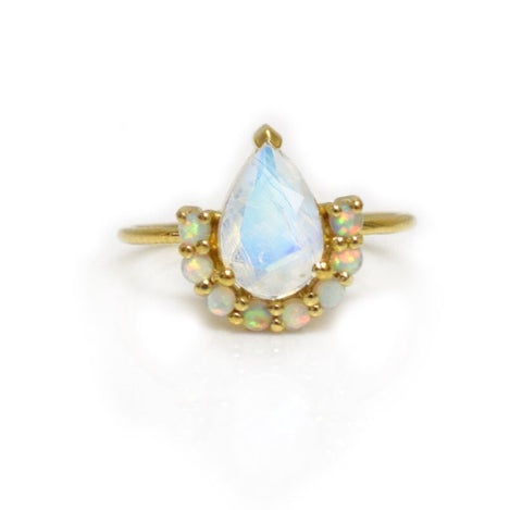 Opal and Moonstone Ballerina Ring
