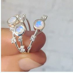 Sterling Silver Constellation Ring- Moonstone and Diamond