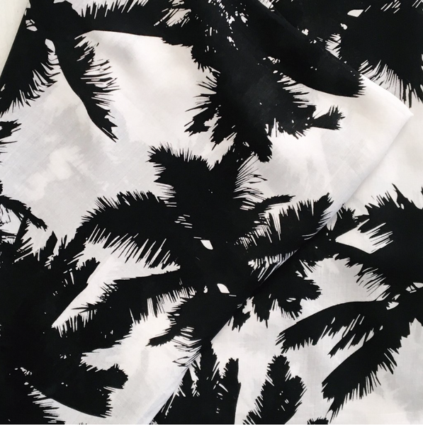Aloha Collection Black and White Palm Pareo