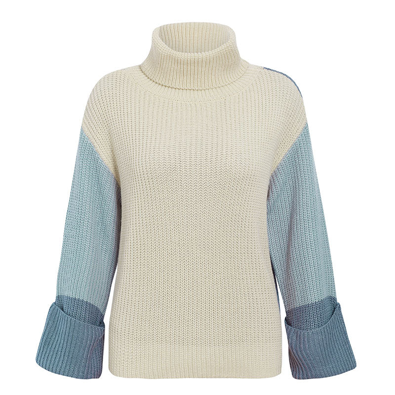 PATCHWORK KNITTED LONG SLEEVE SWEATER