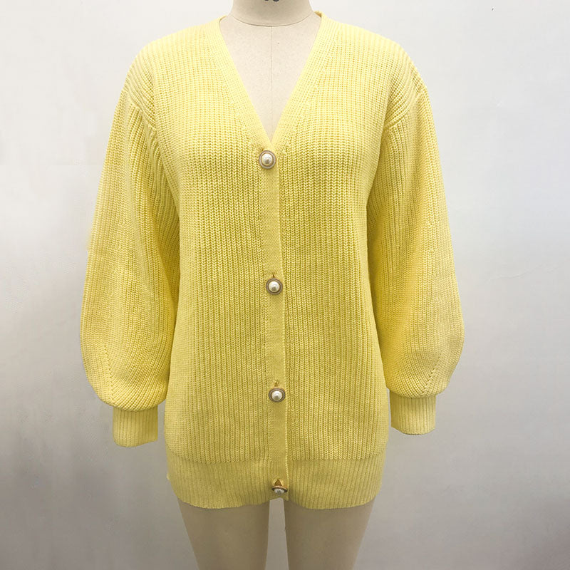 GIGI CASUAL V-NECK KNITTED CARDIGAN