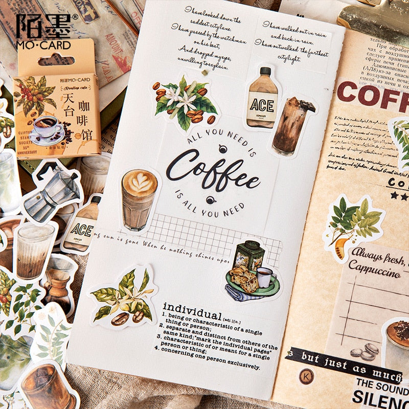 45pcs/pack Vintage Rooftop Coffee Shop Stickers