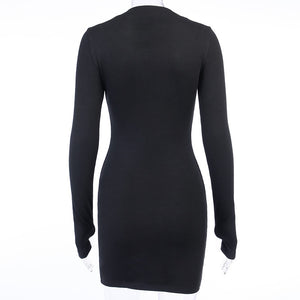 CUT IT UP LONG SLEEVE HALF ZIP BODYCON DRESS