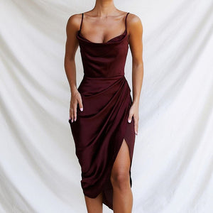 HOPE SIDE SPLIT SATIN DRESS