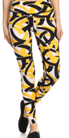 Yellow and Black Swirl Yoga/Activewear Pants