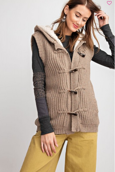 Easel Speckled Hooded Sweater Vest