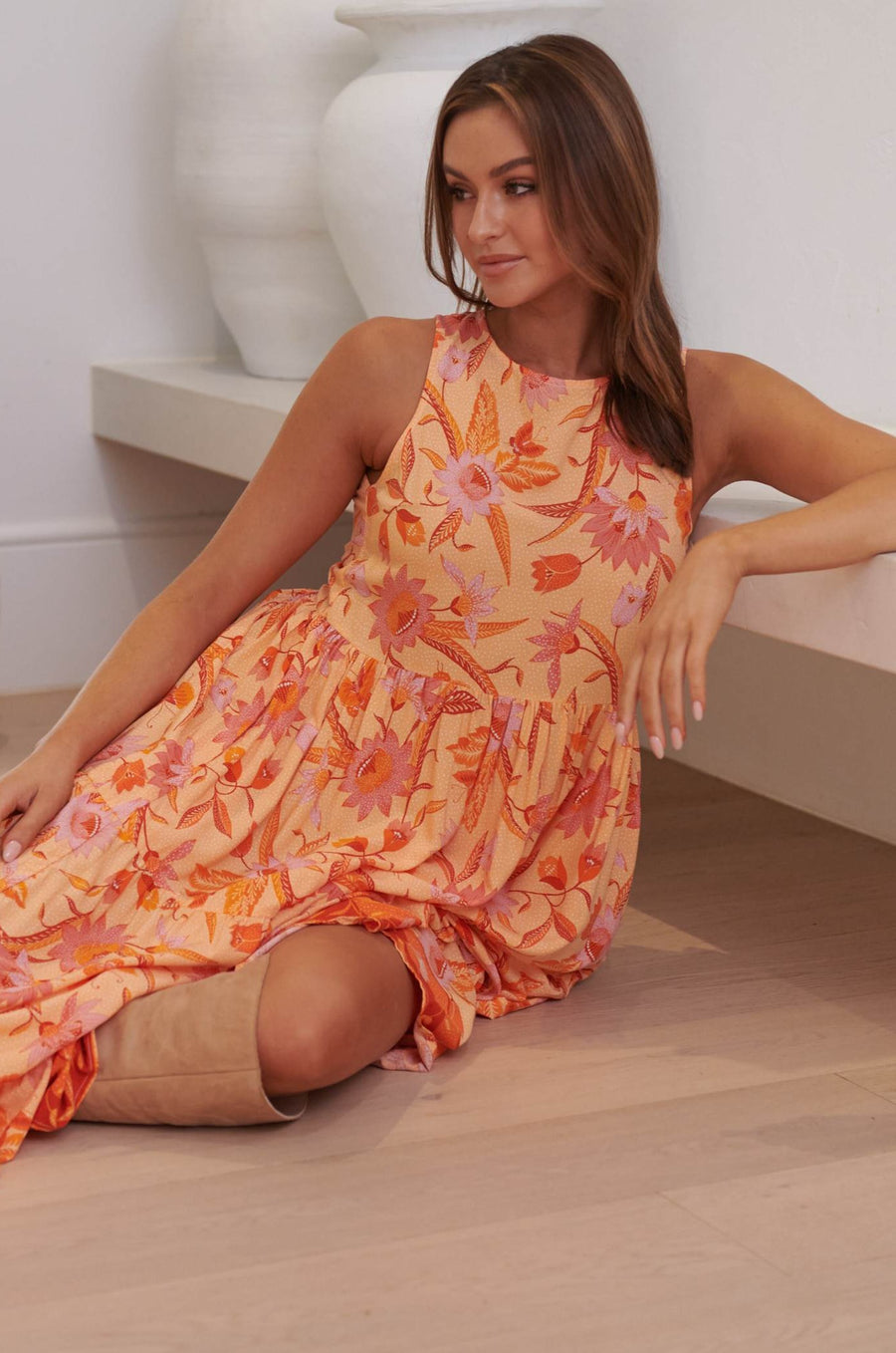 ORANGE WILDFLOWER RIA MIDI DRESS