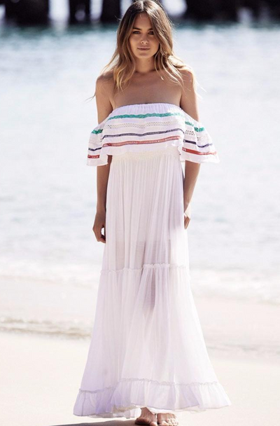Jaase Karlie White embroidered ~ Maxi Dress | Bohemian Love Runway