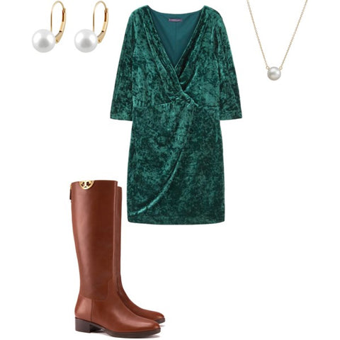 Green Velvet Dress with Solitaire Pearl Pendants and Earrings