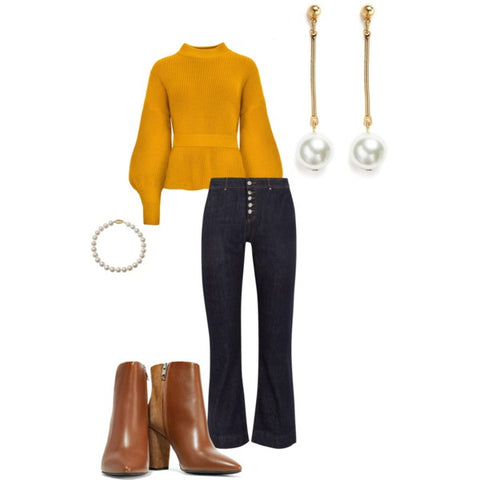 Thanksgiving Dinner outfit with Single Strand Pearl Bracelet and Drop Earrings