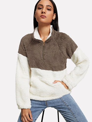 Drop Shoulder Quarter Zip Teddy Sweatshirt