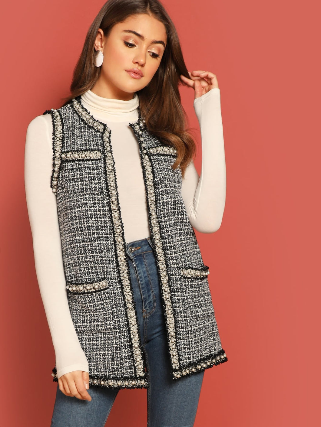 Pearl Beaded Frayed Trim Tweed Shell Coat