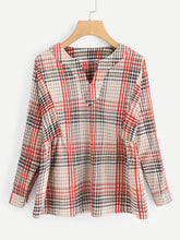 V Neck Plaid Blouse