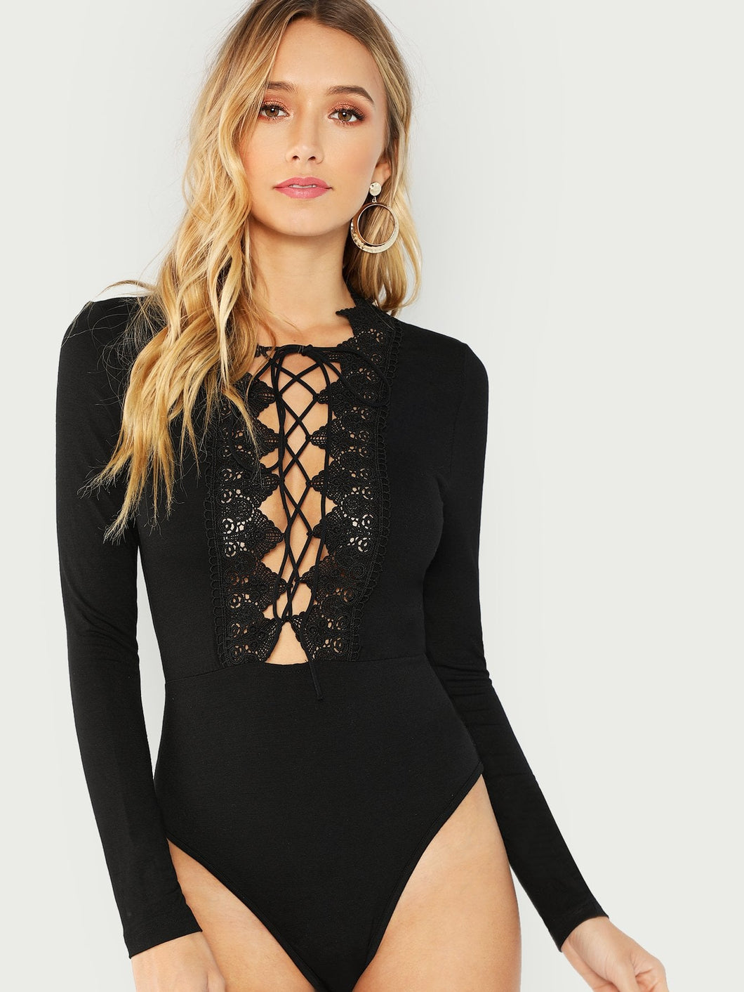 Lace Trim Tie Up Plunging Bodysuit