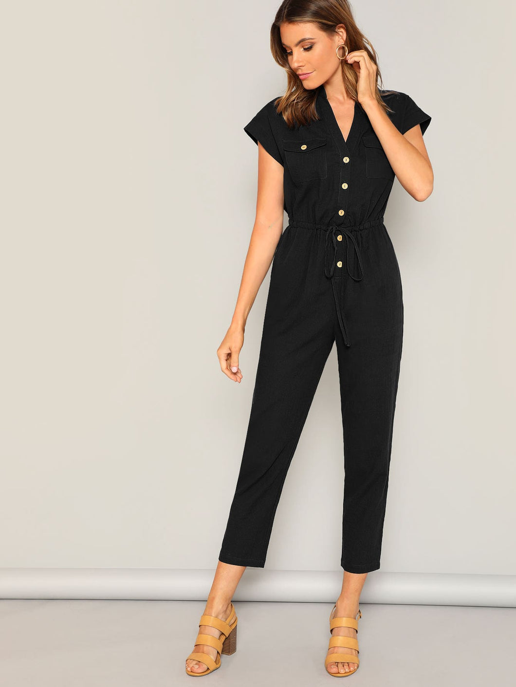 Flap Pocket Front Drawstring Waist Shirt Jumpsuit