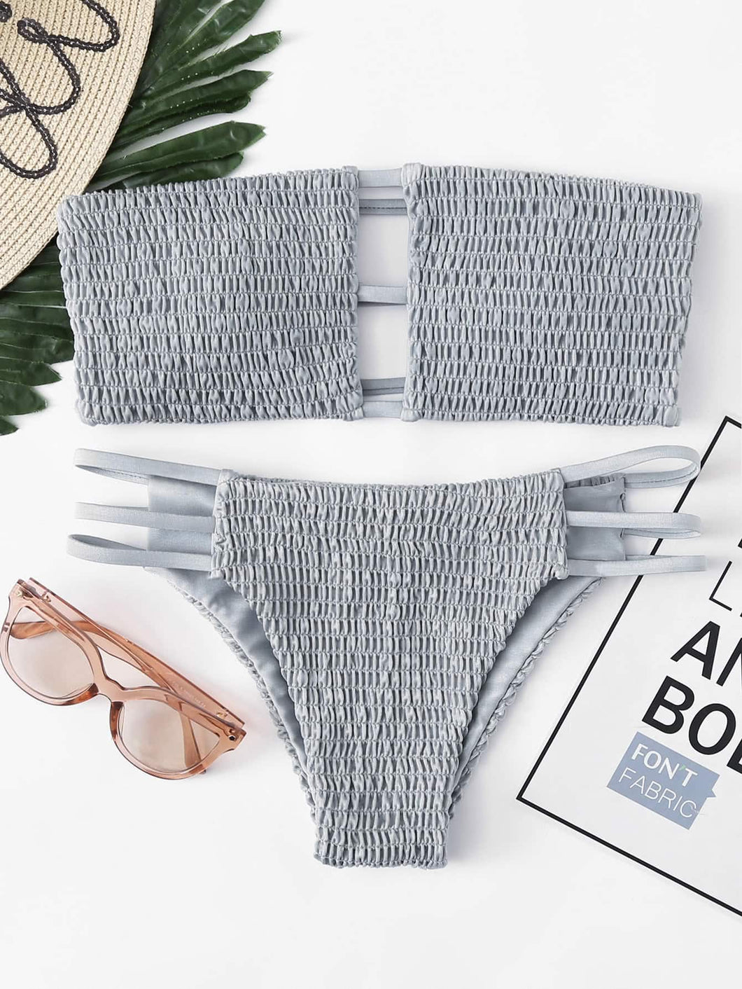Smocked Ladder Cut-out Bandeau With Side Strappy Bikini