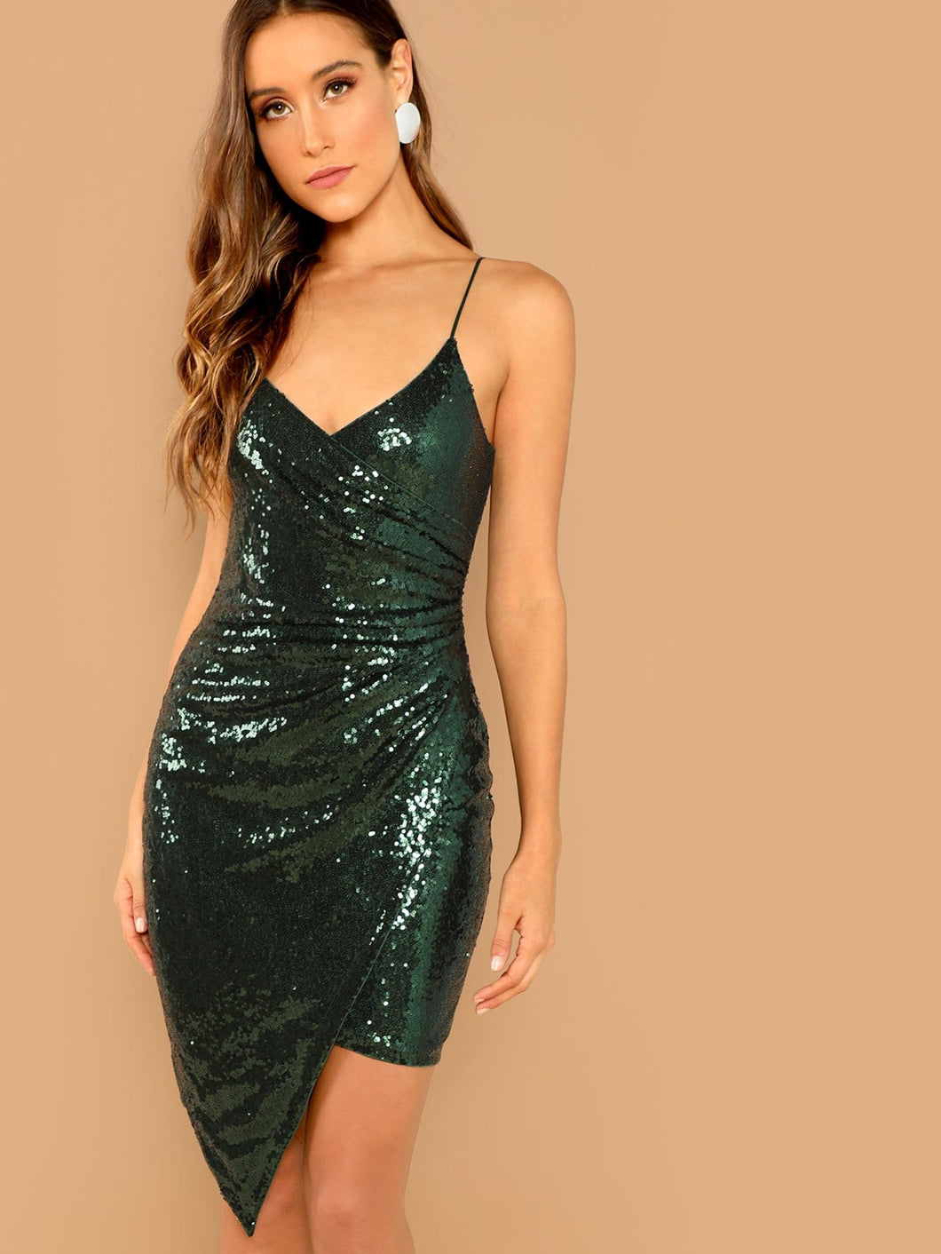 Surplice Wrap Sequin Cami Dress