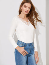 Gathered Back Lace V-neck Tee