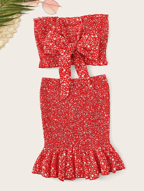 Frilled Trim Knot Dot Bandeau Top & Skirt Set