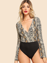 Graphic Print Deep V Neck Bodysuit