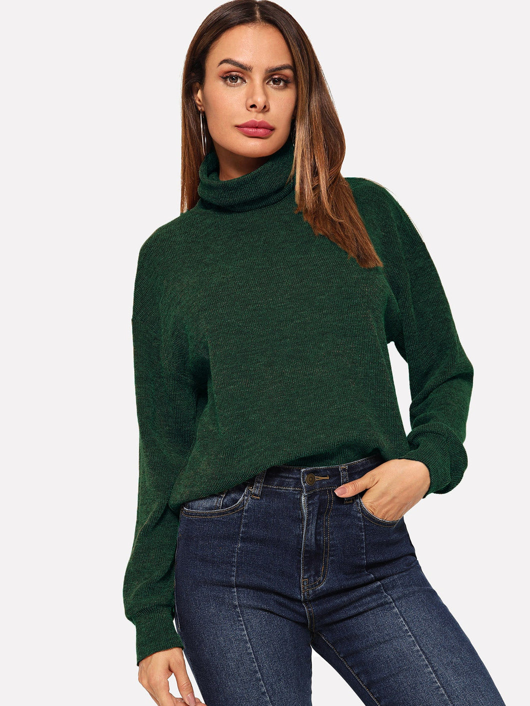 High Neck Solid Pullover