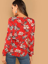 Zip Half Placket Floral Top